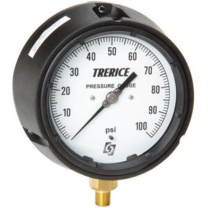 H.O. Trerice 4-1/2 x 1/4 in. 60 psi Plastic-Fiberglass Pressure Gauge T450B4502LA100
