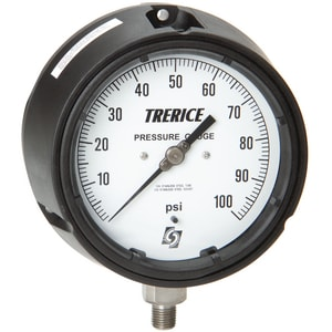 H.O. Trerice 450 Series 4-1/2 x 1/2 in. 100 psi Stainless Steel Pressure Gauge T450SS45TRL500110