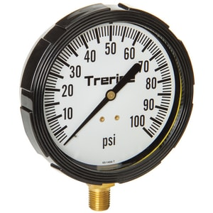 H.O. Trerice 3-1/2 x 1/4 in. 0-100 psi Steel Bar Pressure Gauge T800LFB3502LA110