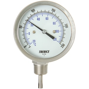 H.O. Trerice 0 to 250F Adjustable Bimetal Thermometer TB836020250