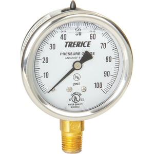 H.O. Trerice D80 Series 2-1/2 x 1/4 in. 30 psi Stainless Steel-Brass Pressure Gauge TD82B2502LA030