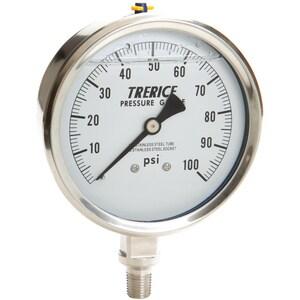 H.O. Trerice D80 Series 100 psi Lower Mount Pressure Gauge TD83SS4002LA110