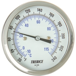 H.O. Trerice 0 to 250F Bimetal Rear Connect Dial Thermometer TB8320227