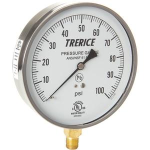 H.O. Trerice 620B Series 4-1/2 x 1/4 in. 600 psi/kpa 250F Stainless Steel/Brass Pressure Gauge T620B4502LD160