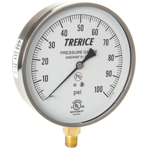 H.O. Trerice 620B Series 4-1/2 x 1/4 in. 60 psi/kpa 250F Stainless Steel/Brass Pressure Gauge T620B4502LD100