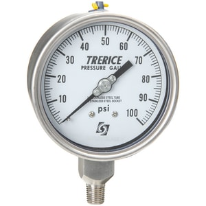 H.O. Trerice 700 Series 4 x 1/4 in. 0-100 psi Stainless Steel Low Flow Pressure Gauge T700LFSS4002LA110