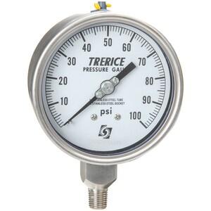 H.O. Trerice 700 Series 4 x 1/4 in. 300 psi Stainless Steel Low Flow Pressure Gauge T700LFSS4002LA140