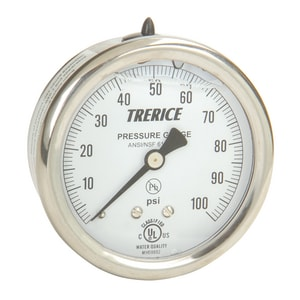 H.O. Trerice D80 Series 2-1/2 x 1/4 in. 0-100 psi Liquid Filled Stainless Steel Brass Center Back Mount Pressure Gauge TD82LFB2502BA110