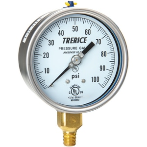 H.O. Trerice 700 Series 4 x 1/2 in. 30 psi Brass Pressure Gauge T700B4004LA