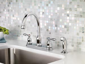 Moen Caldwell™ Two Handle Kitchen Faucet in Polished Chrome MCA87888
