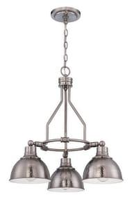 Craftmade International Timarron 100 W 3-Light Candelabra Chandelier in Antique Nickel C35923AN