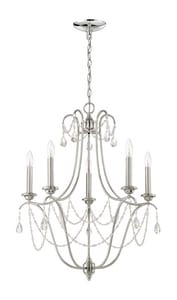 Craftmade International Lilith 60W 5-Light Candelabra E-12 Base Incandescent Chandelier with Clear Glass in Polished Nickel C41125PLN