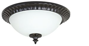 Craftmade International 13 in. 60 W 2-Light Medium Flush Mount Round Flute Frost Light Fixture in Oiled Bronze CX313OB
