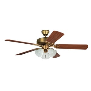 Craftmade International Builder Deluxe Ceiling Fan with 52 in. Blade Span and 3-Light in Polished Brass CBLD52PB5C3