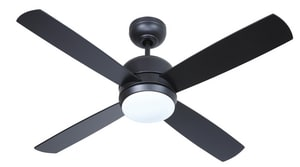 Craftmade International Montreal 49W 4-Blade Ceiling Fan with 44 in. Blade Span and 1-Light in Flat Black CMN44FB4LED