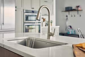 Moen Sleek™ 1-Hole High Arc Pull-Down Kitchen Faucet with Lever Handle in Spot Resist Stainless Steel M7864