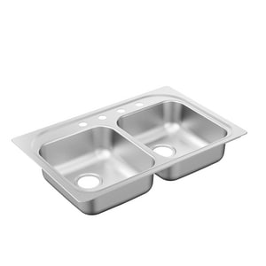 Moen 2200 Series 33 x 22 in. 4 Hole Stainless Steel Double Bowl Drop-in Kitchen Sink in Matte Stainless Steel MG222164