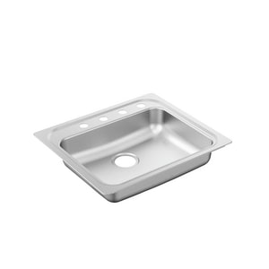 Moen 2000 Series 25 x 22 in. 20 ga 1-Bowl Self-rimming and Drop-in Kitchen Sink with Rear Center Drain in Stainless MG201974BQ
