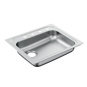 Moen 2000 Series 25 x 22 in. Stainless Steel 1 Bowl Drop-in Kitchen Sink in Brushed Satin Stainless MG201974LQ