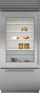 Sub Zero 21.3 CF 36 in. Glass Door Stainless Steel Built-In Bottom-Freezer Refrigerator With Left-Hand Door Swing SBI36UGSPHLH