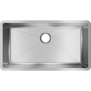 Elkay Crosstown® 32-1/2 x 18 in. 16 ga No-Hole 1-Bowl Undermount 304 Stainless Steel Kitchen Sink with Rear Center Drain in Polished Satin EEFRU311610T