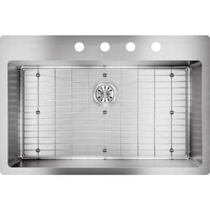 Elkay Crosstown® 33 x 22 in. 4 Hole Stainless Steel Single Bowl Dual Mount Kitchen Sink in Polished Satin EECTSRS33229TBG4