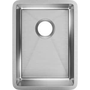 Elkay Crosstown® 13-1/2 x 18-1/2 in. 18 ga No-Hole 1-Bowl Undermount 304 Stainless Steel Rectangular Bar Sink with Rear Center Drain in Polished Satin EECTRU12179T
