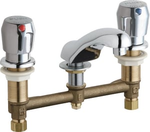 Chicago Faucet Two Handle Push Deck Mount Service Faucet in Polished Chrome C404V665E39ABCP