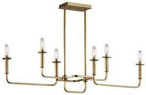 Kichler Lighting Alden 17-1/2 in. 6-Light Linear Chandelier in Natural Brass KK43362NBR