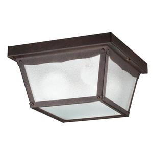 Kichler Lighting 5-1/4 x 9-1/4 in. 60 W 2-Light Medium Outdoor Semi-Flush Mount Ceiling Fixture in Tannery Bronze KK345TZ