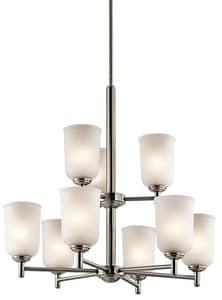 Kichler Lighting Shailene 100W 9-Light Medium Incandescent Chandelier in Brushed Nickel KK43672NI