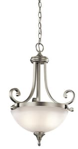 Kichler Lighting Monroe 100W 2-Light Medium Base Incandescent Pendant in Brushed Nickel KK43163NI