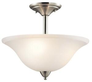 Kichler Lighting Nicholson 13-1/4 in. 3-Light Semi-Flushmount Ceiling Light in Brushed Nickel KK42879NI