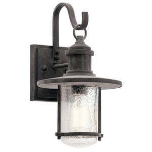 Kichler Lighting Riverwood 100W 1-Light Incandescent Outdoor Wall Sconce in Weathered Zinc KK49192WZC