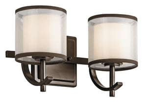 Kichler Lighting Tallie 60W 2-Light Bath Light with Satin Etched White Glass KK45450