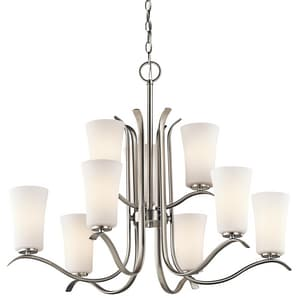 Kichler Lighting Armida 100W 9-Light Medium Incandescent Chandelier in Brushed Nickel KK43075NI