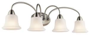 Kichler Lighting Nicholson 100W 4-Light Bath Vanity Fixture in Brushed Nickel KK45884NI