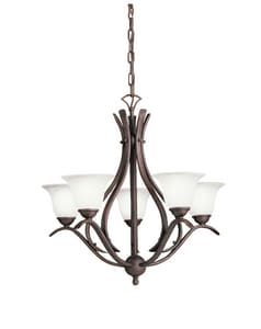 Kichler Lighting Dover 60 W 5-Light Candelabra Chandelier in Tannery Bronze KK2020TZ