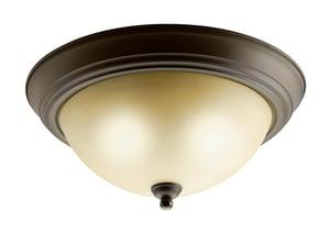 Kichler Lighting 13-1/2 in 26W 2-Light Fluorescent Flush Mount Ceiling Fixture in Olde Bronze KK10836OZ