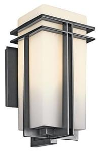 Kichler Lighting Tremillo 8-1/2 in. 150W 1-Light Medium Wall Mount Lantern in Black KK49202BK