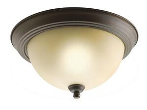 Kichler Lighting 6-1/2 x 11-1/4 in. 60 W 2-Light Medium Flush Mount Ceiling Fixture in Old Bronze KK8108OZ