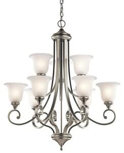 Kichler Lighting Monroe 100W 9-Light Medium Chandelier in Brushed Nickel KK43159