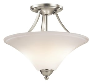 Kichler Lighting Keiran 75W 2-Light Medium E-26 Base Incandescent Semi-Flushmount Ceiling Fixture KK43512