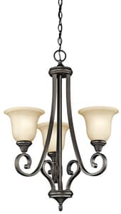 Kichler Lighting Monroe 29-1/2 in. 100W 3-Light Medium Chandelier in Olde Bronze KK43155OZ