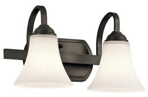 Kichler Lighting Keiran 100W 2-Light Bath Light with Satin Etched White Glass in Olde Bronze KK45512OZ