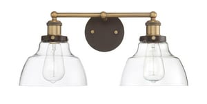 Park Harbor® Mooretown 8-3/4 in. 100W 2-Light Bath Light in Oil Rubbed Bronze with Antique Brass PHVL3072ORBRAB
