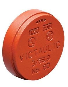 Victaulic Style 60 4 in. Grooved Painted Cap with 3/4 in. IPT Tap-on-Pipe VFD20060P00-NR