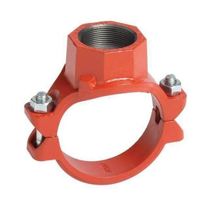 Victaulic FireLock™ Style 920 4 x 4 x 2-1/2 in. Grooved Ductile Iron Painted Mechanical Reducing Tee VDOMCD35920PE1