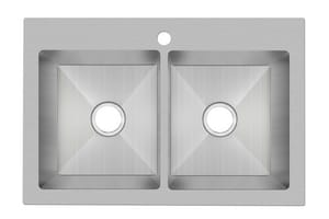 PROFLO® Sault Series 33 x 22 in. 1 Hole Double Bowl Dual Mount Kitchen Sink in Stainless Steel PFDM2B332291