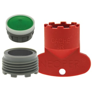 Neoperl Replacement Cache Aerator Kit with 1.5 gpm Junior Perlator Aerator, Key and Washer for Moen in Dark Grey N1304510